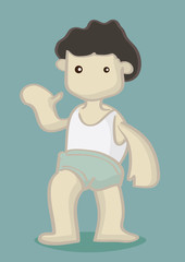 Dark Hair Boy with Blank Face in Oversized Shorts and Singlet Wa