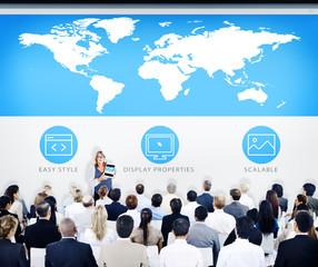 Business People World Map Design Presentation Concept