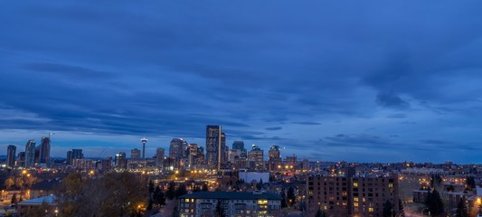 Calgary skyline in the early morning with rays from rising sun