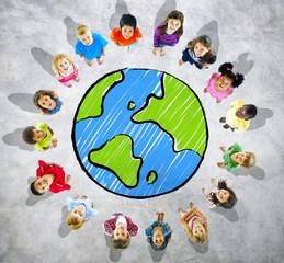 Big group of kids with globe