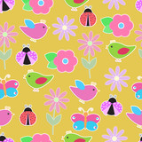 background with colorful flowers, butterflies and birds