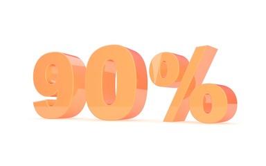 Discount percent off. 3D illustration.