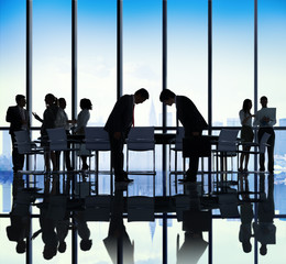 Japanese Business People Bowing Down Office Concept