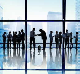 Silhouette Group of Business People Greeting Concept