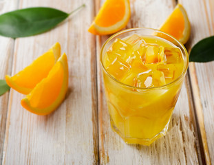 Orange juice on  a  wooden background