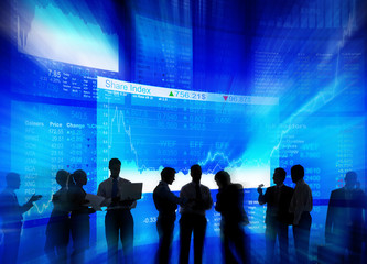 Silhouette Group of Business People Stock Market Concept