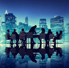 Group of People Meeting Business Cityscape Teamwork Concept