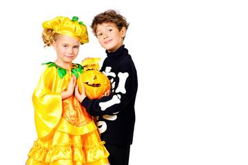 pumpkin and skeleton