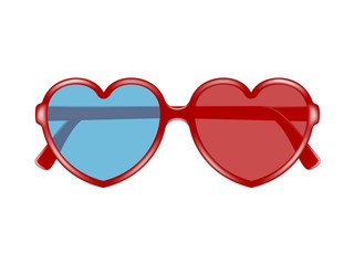 Cinema glasses in shape of heart