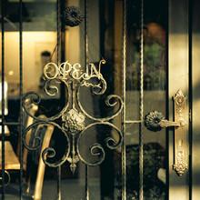 Ouvrir signe boutique café-restaurant de style vintage