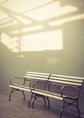 Bench with wall background