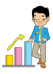 Asian business man with big arrow and chart