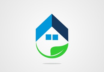 house, ecology, clean, fresh, leaf, logo vector