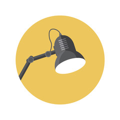 Flat Design Concept Lamp Vector Illustration With Long Shadow.