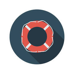 Flat Design Concept Lifebuoy Vector Illustration With Long Shado