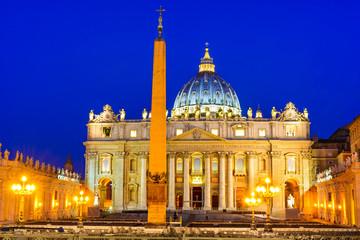 Vatican, twilight image of Basilica San Pietro, Rome