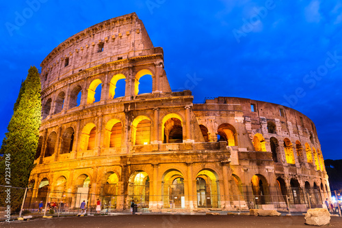 Foto op Canvas Rome Colosseum twilight, Rome, Italy