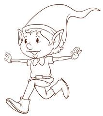A plain drawing of an elf