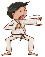 A plain drawing of a martial arts artist