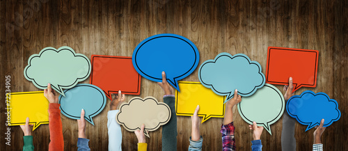 canvas print picture Group of Hands Holding Speech Bubbles