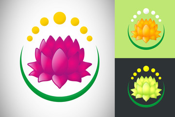 lotus abstract spa flower design logo vector
