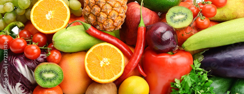 Fotobehang Keuken bright background of fruits and vegetables