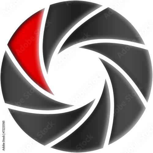 Leinwanddruck Bild Blende mit roter Lamelle
