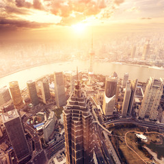 city aerial view of Shanghai,china