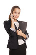 Smiling business woman phone talking isolated