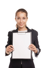 business woman showing blank clipboard isolated