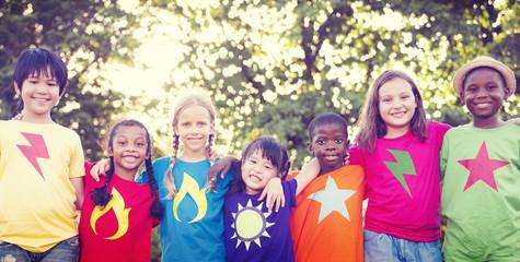 Children Friendship Bonding Happiness Outdoors Concept