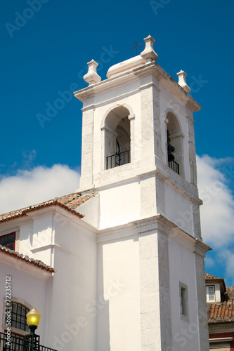 canvas print picture Small white church in Lisbon, Portugal