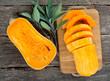 butternut squash on wooden background - 72235935