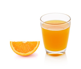 fresh orange fruits and juice isolated on white