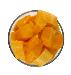 pieces of pumpkin in a glass bowl