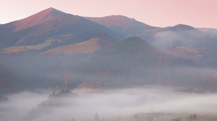 Morning Mist and Pink Mountains