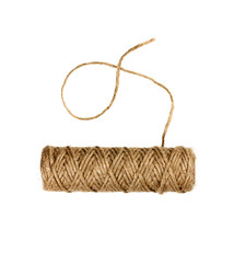 spool of natural twine or rope isolated on white