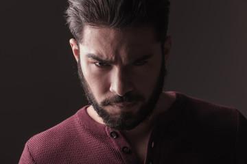 man looking at the camera angy