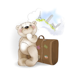 Bear with Luggage suitcase