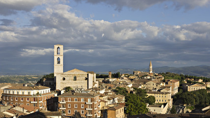 Panoramic view of the city of Perugia, Italy