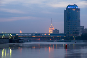 View of the Moscow River, Hotel Ukraina from Moscow-city.