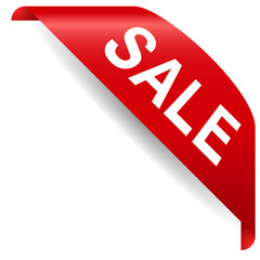 red corner  with text sale