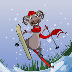 smiling sheep flies with snowy mountains on skis