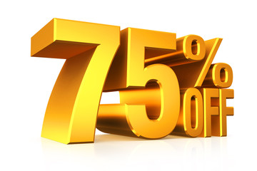 3D render gold text 75 percent off.