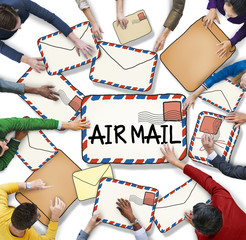 Multiethnic Group of People with Air Mail Concepts