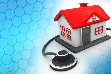 House with stethoscope on abstract background .