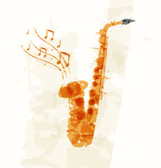 Abstract image of a saxophone