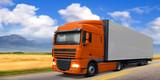 Truck DAF on highway.