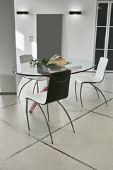 glass dining table in the modern living room