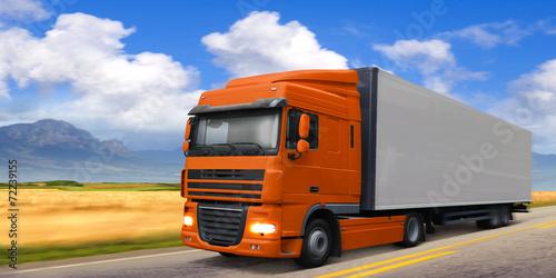 Truck DAF on highway. - 72239155